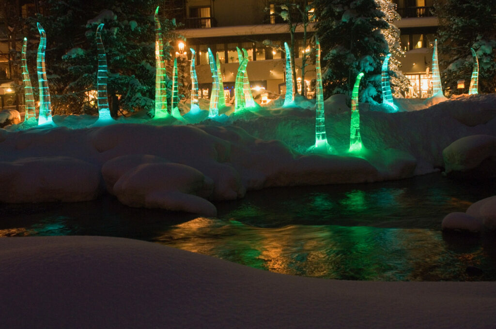 Verdant Meadow Ice Art Exhibit along Gore Creek Promenade, Vail, Colo. with design by Univ. of Denver Art  Professor Lawrence Argent and ice sculpting by Scott Rella.